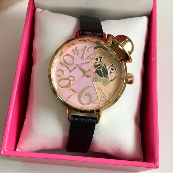 49394cb5cc50 Betsey Johnson Pink Pug in a Hat Black Strap Watch